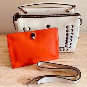 FENDI White 'DOTCOM' Lace-Up Leather Satchel